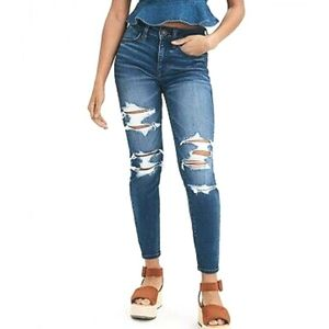 American Eagle High Rise Jeggings Skinny Jeans Rip